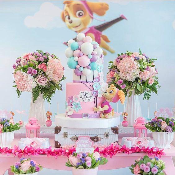 decoracao festa Skye Patrulha Canina rosa