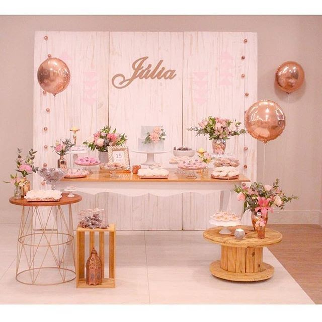 decoracao festa rose gold aniversario