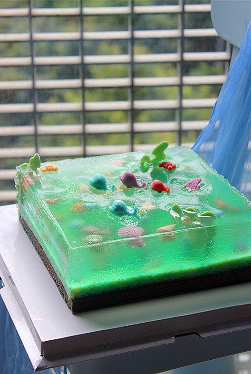 diy aquario gelatina quadrado