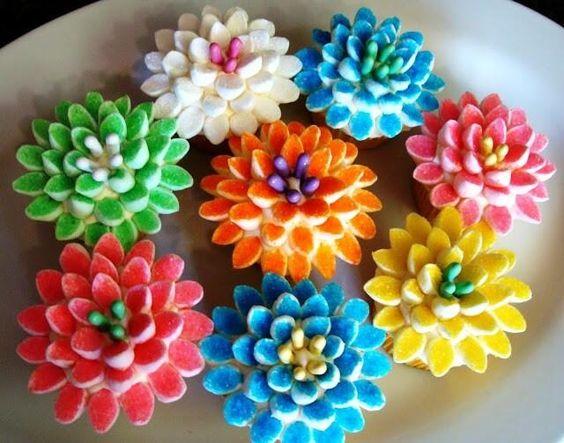diy flor marshmallow colorida