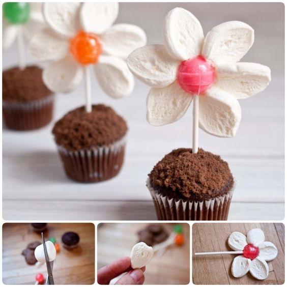 diy flor marshmallow crianca