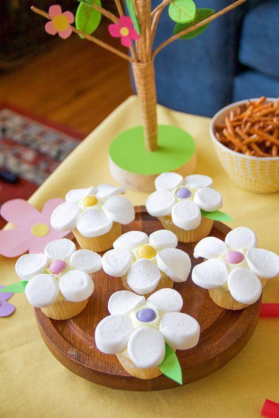 diy flor marshmallow cupcakes