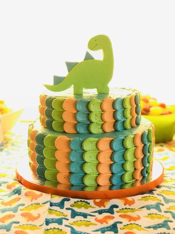 festa dino baby bolo decorado