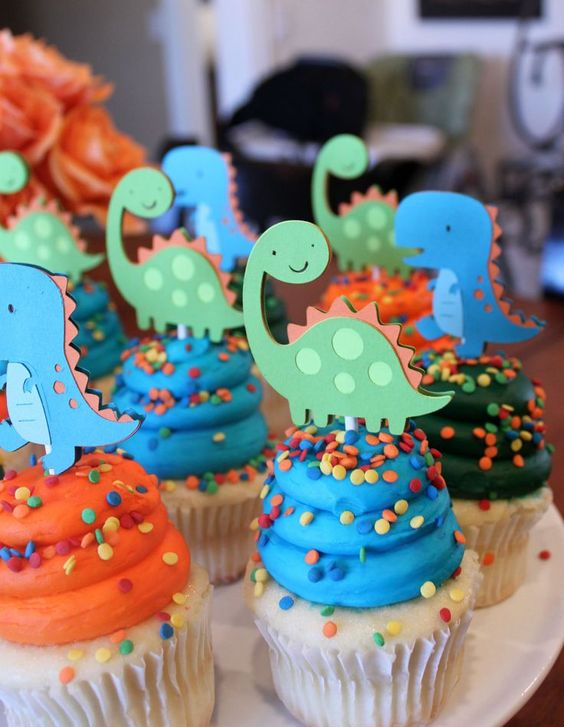 festa dino baby cupcakes