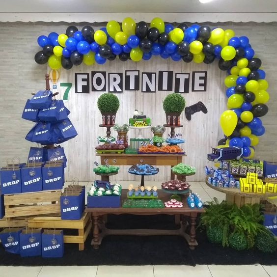 festa fortnite decoracao bexigas