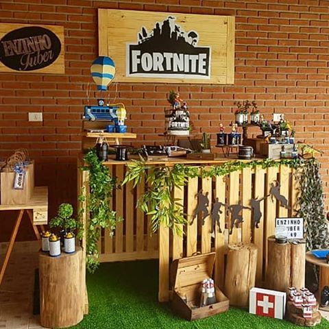 festa fortnite decoracao simples