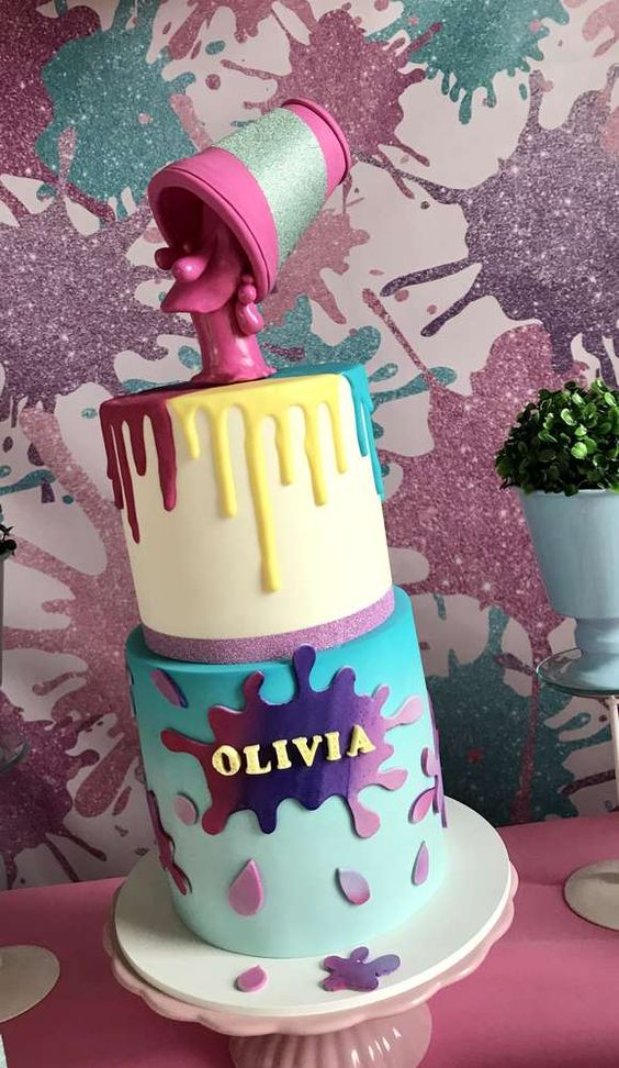 festa slime bolo decorado
