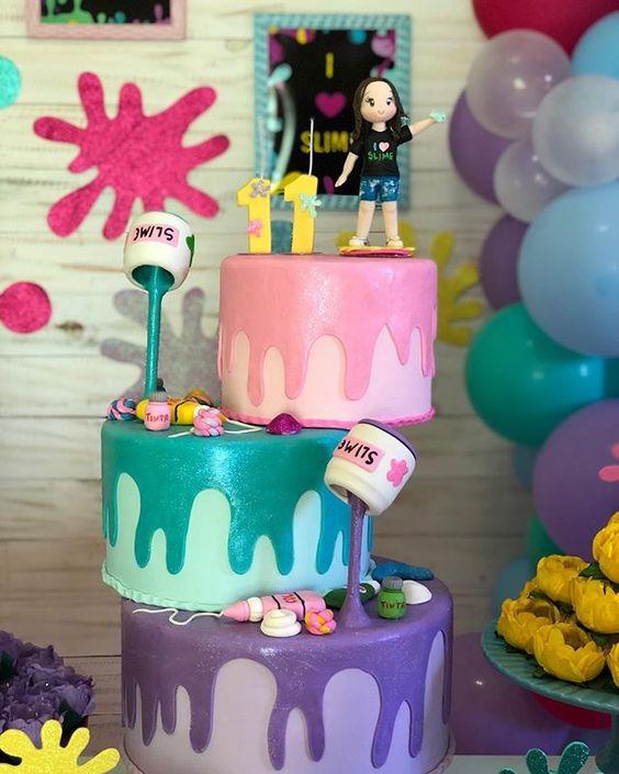 festa slime bolo ideia