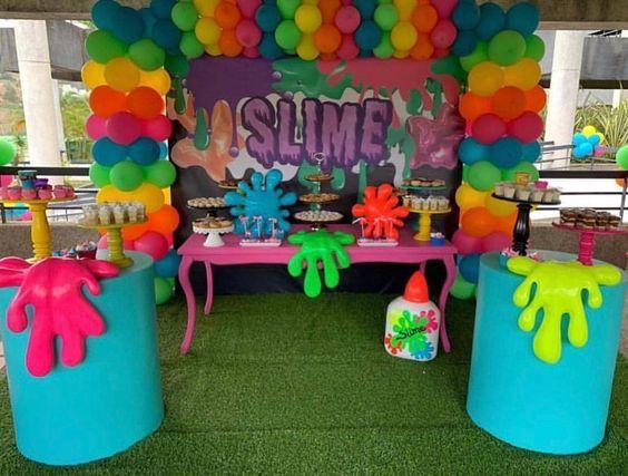 festa slime decoracao ideias