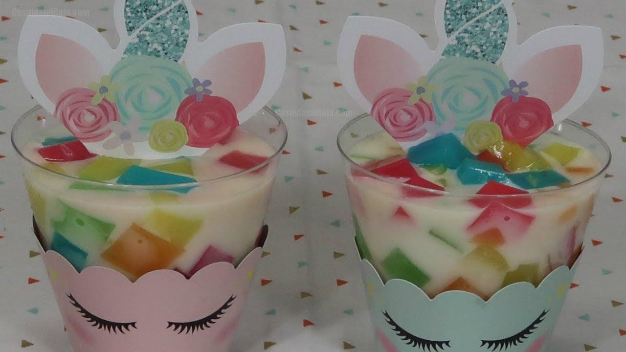 gelatina criativa unicornio copo