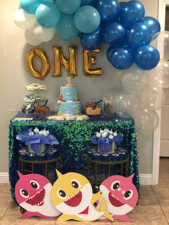 ideias decoracao festa baby shark