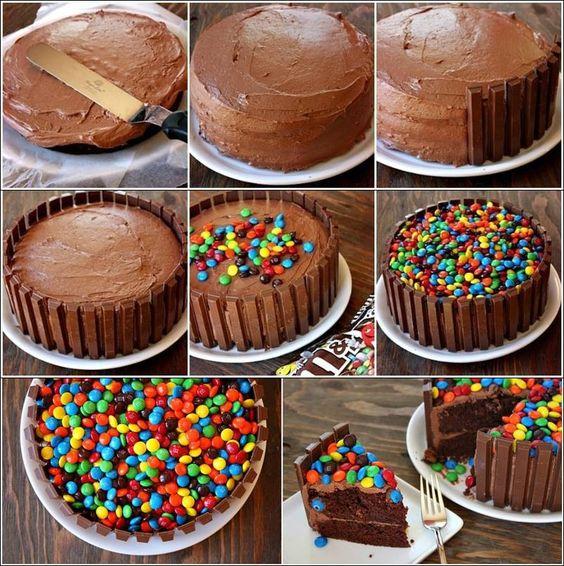 ideias decorar bolos feitos simples kit kat