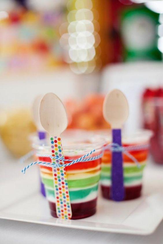 ideias servir gelatina colorida