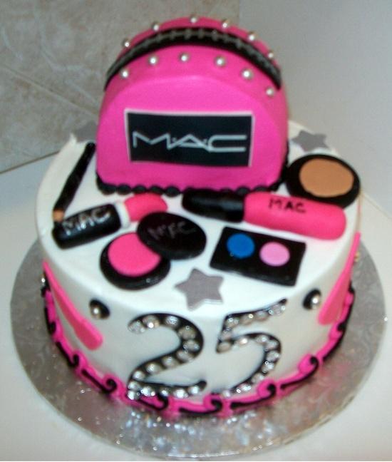 mac maquiagem bolo decorado