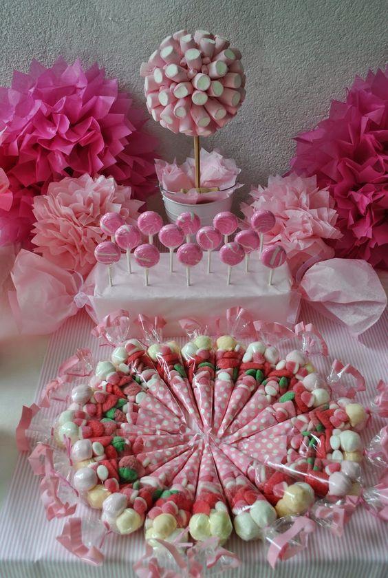 montar mesa doces crianca rosa