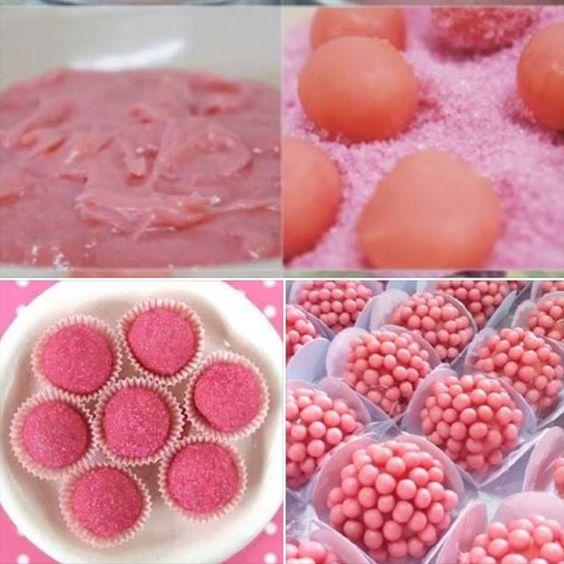 servir brigadeiros festa rosa