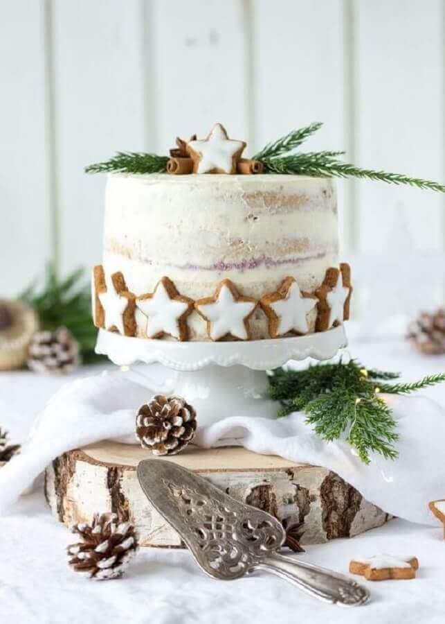 topo bolo natal diy estrelas bolachas